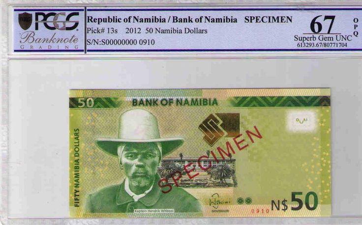 NAMIBIA SPECIMEN NOTE 2012 $50 PCGS GRAD 67 OPQ SUPERB GEM UNC S/N 000000000