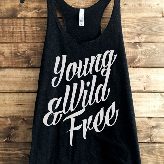 SALE- Young Wild Free Racerback, Women's trendy tshirt, 4th july tank, shirts for 4th of july, american flag, american flag tank,