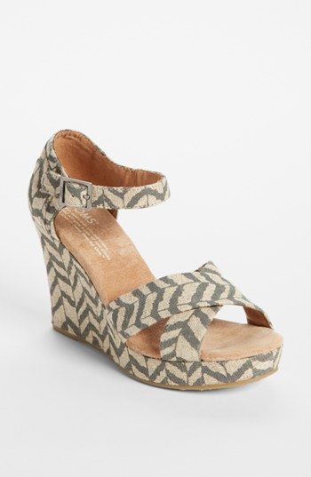 Great for a beach wedding: Toms chevron print wedge