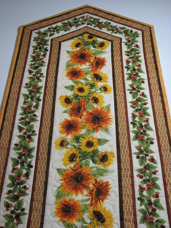 Quilted Table Runner , Autumn Table Runner , Sunflowers and Berries