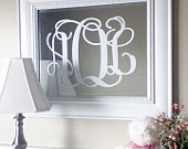 Monogram Fancy Scroll Initials Vinyl Wall Decal Sized for 16x20 frame or mirror