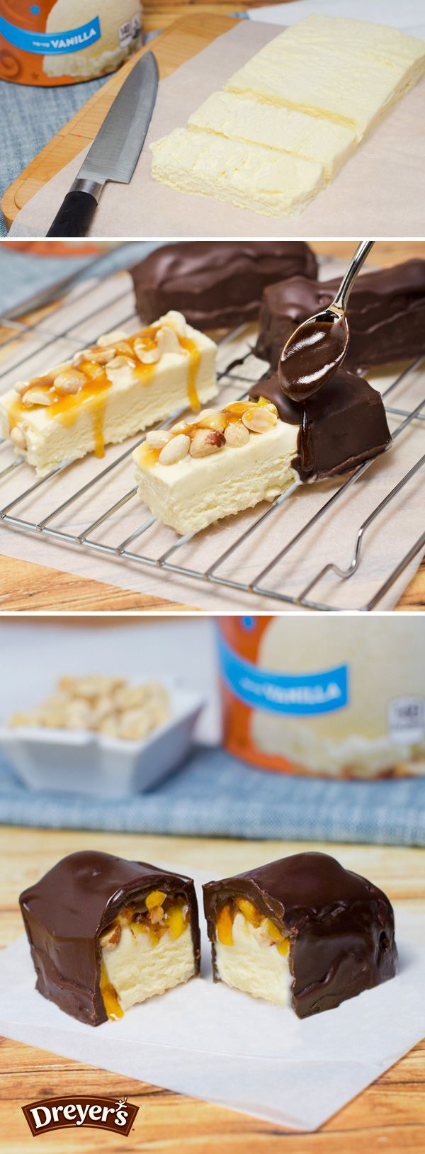 This crispy, crunchy treats starts with adding Dreyer's Vanilla ice cream into a rectangle, then slice it into individual bars. Place these slices on a baking rack with parchment paper underneath. A great dessert needs some crunch, so for this recipe, add your favorite type of nuts on top. Drizzle on some caramel, and then drench each piece with a rich layer of chocolate. Freeze before serving!