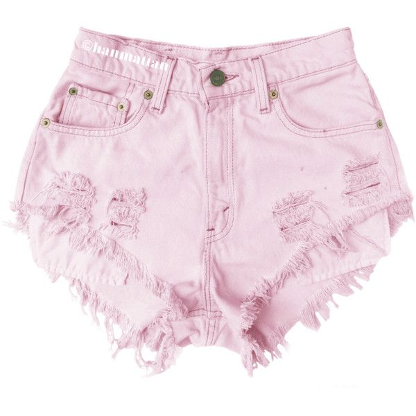 "ALL SIZES ""BLOSSOM"" Vintage Levi high-waisted denim shorts pastel baby... (€22) ❤ liked on Polyvore featuring shorts and bottoms"