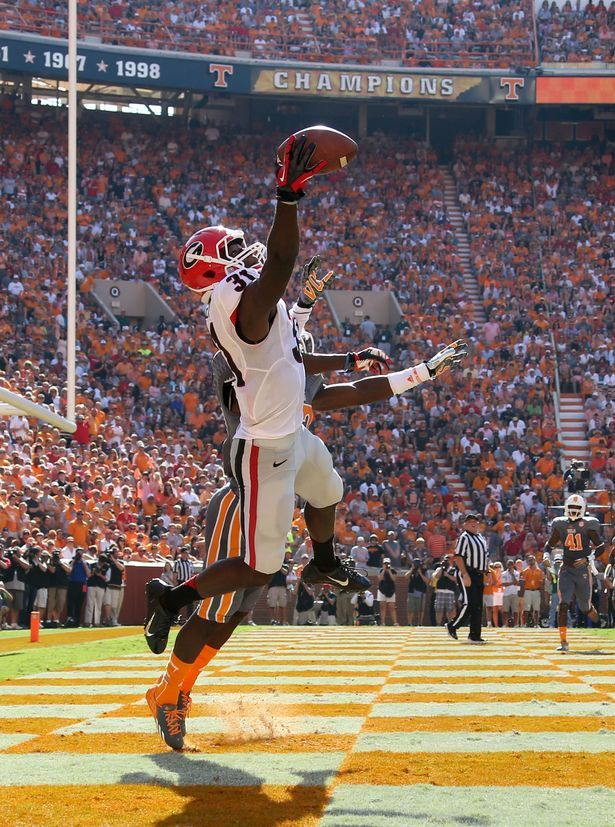 Georgia Bulldogs wide receiver Chris Conley (31) makes a one handed 1-yard touchdown pass in front of Tennessee Volunteers defensive back Ju...