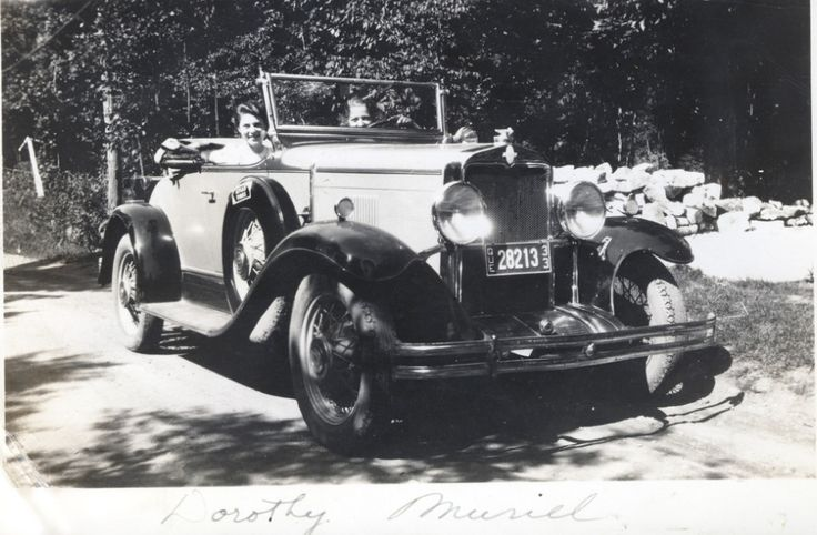 Dorothy Mitchell & Muriel Steel. Hector Stanleys car, Plage Laval. Car is a 1930 Chevrolet with Rumbleseat.