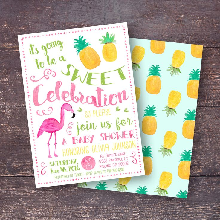 Pineapple Baby Shower Invitation, Flamingo Baby Shower Invitation, Tropical Baby Shower Invitation, Pine