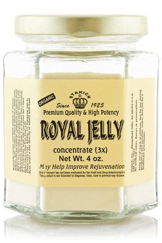 Stakich Royal Jelly Powder has 3 times higher potency than fresh Royal Jelly. A nutrient rich superfood packed with all of the B-vitamins, nucleic acid, essential amino acids, fatty acids, enzymes, protein, vitamins and minerals. It is the Queen Bee's only source of food, which enables her to live 40 times longer than the worker bees.