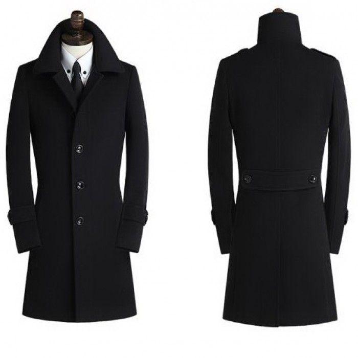 Мужское пальто на пуговицах черное приталенное