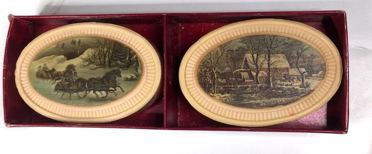 Avon Currier Ives Stay Beautiful Soaps 1876 Winterscapes 2 Bars 3 oz Each New #Avon