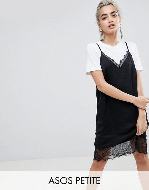 ASOS PETITE Cami Dress with Lace Insert