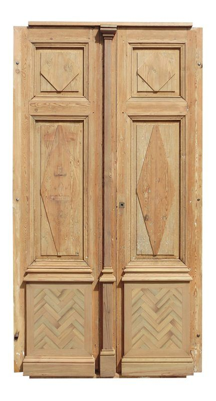 Antique Oak French Doors, Wood Glass Front Door, Architectural Windows Hardware Frames