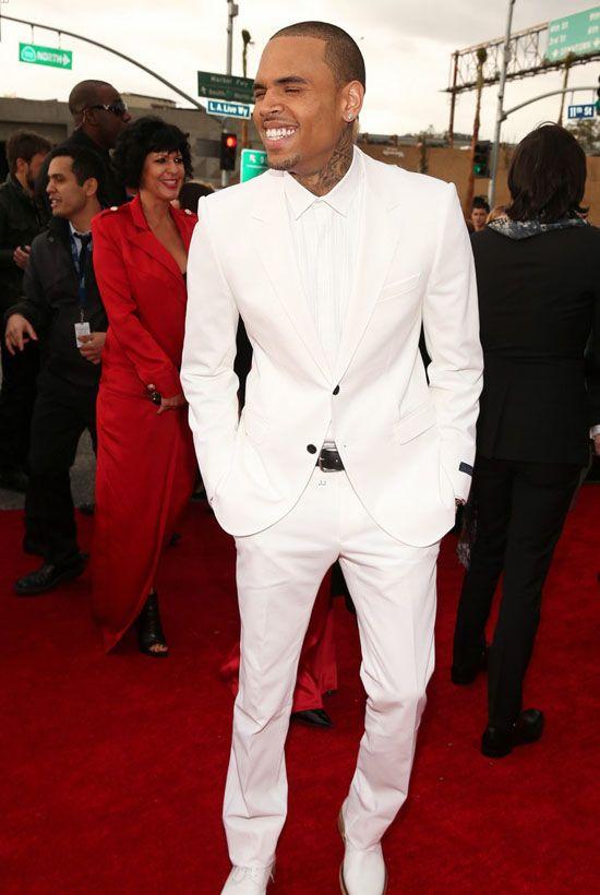 Крис Браун на красной дорожке премии Грэмми 2013