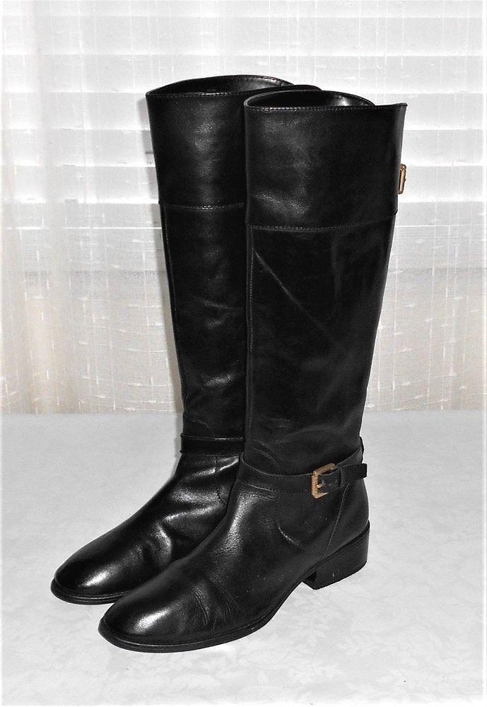 Lauren Ralph Lauren Black Leather Tall Partial Zip Riding Style Boot Women 10 B #LaurenRalphLauren #TallRidingStyleBoot