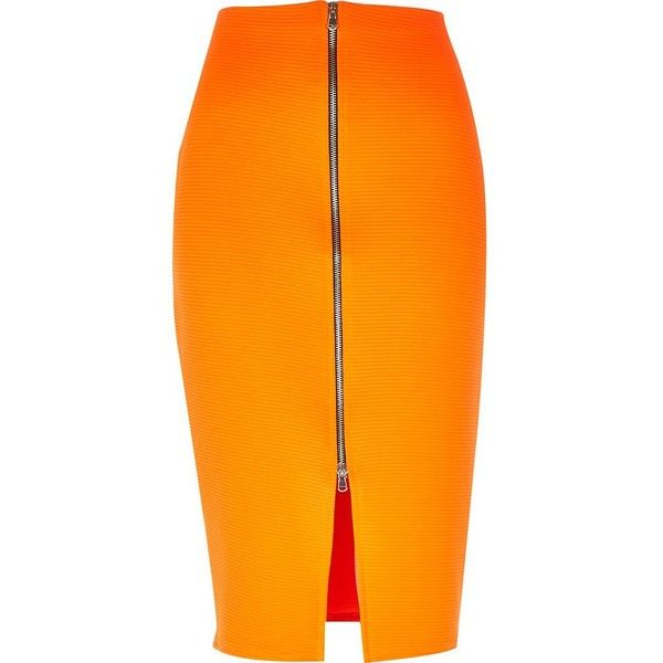 River Island Bright orange zip front pencil skirt (2565 RSD) found on Polyvore featuring skirts, bottoms, pencil skirts, orange, sale, women, tall skirts, pencil skirt, zip front skirt and zipper skirt