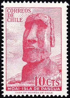 Easter Island stone carving on a Chilean postage stamp