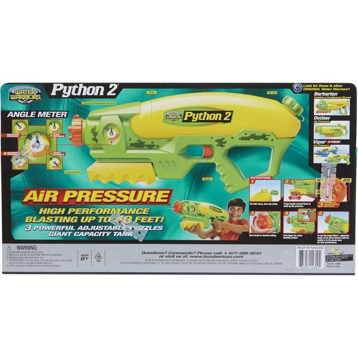 Buy Buzz Bee Toys Water Warriors Python 2 Water Blaster at Walmart.com