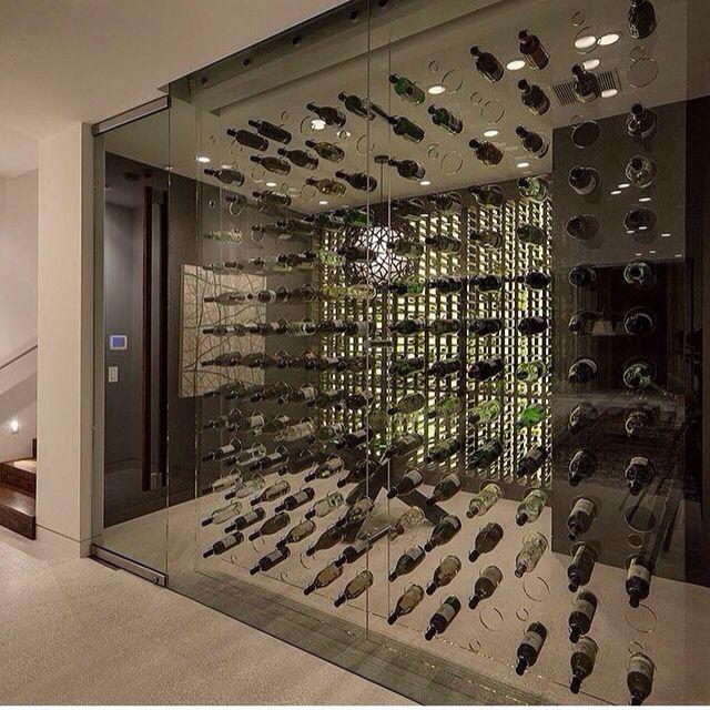 Adega open concept display on glass wall