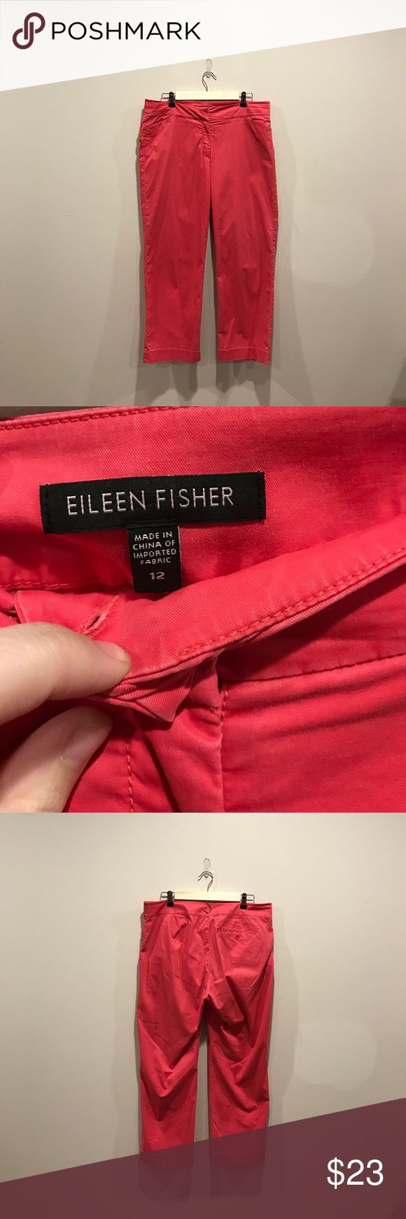 "Eileen Fisher Coral Capri Pants Size 12 Beautiful Eileen Fisher Capri Pants! These pants are preloved but in EUC. There is some super minor fading around seams as shown in last picture ! If you have any questions please ask. I welcome offers 💕.  Inseam 25"" Rise 10"" Waist 18"" all measurements taken with Pants laying flat Eileen Fisher Pants Capris"