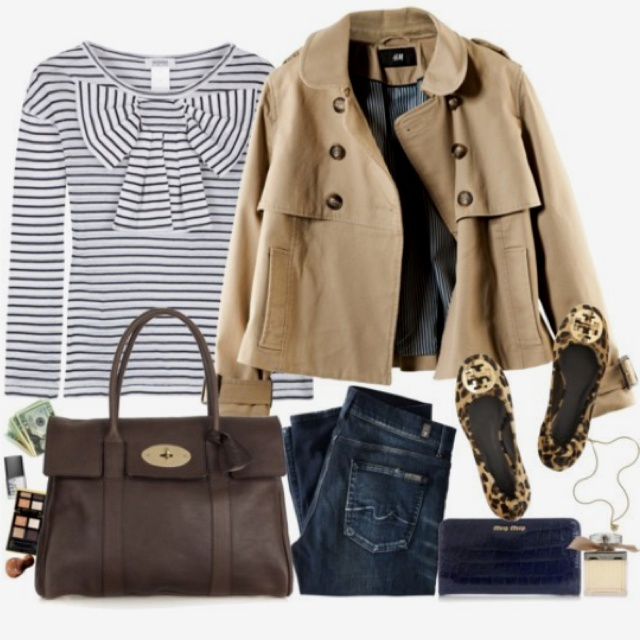 {effortless} tan coat, striped bow shirt, dark jeans, leopard flats
