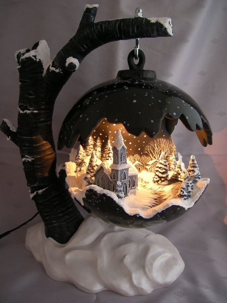 Wintermärchen Kugel - Lichtobjekt aus Keramik