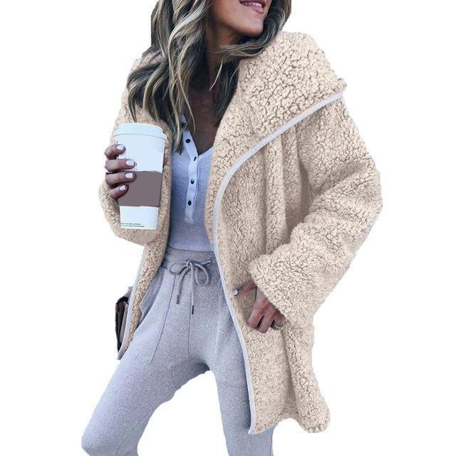 Fleece Jacket Coat Women Wide Lapel Faux Fur Casual Warm Long Jacketsliilgal 11