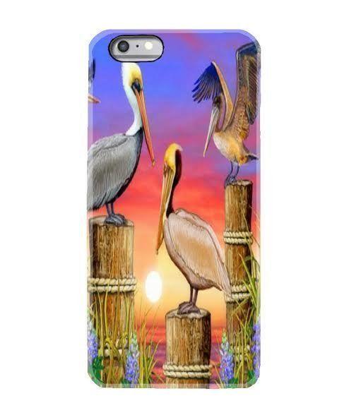 iphone 6 7  6S 6+ 7 plus cell mobile phone case pelican birds flower sun rise #handmade