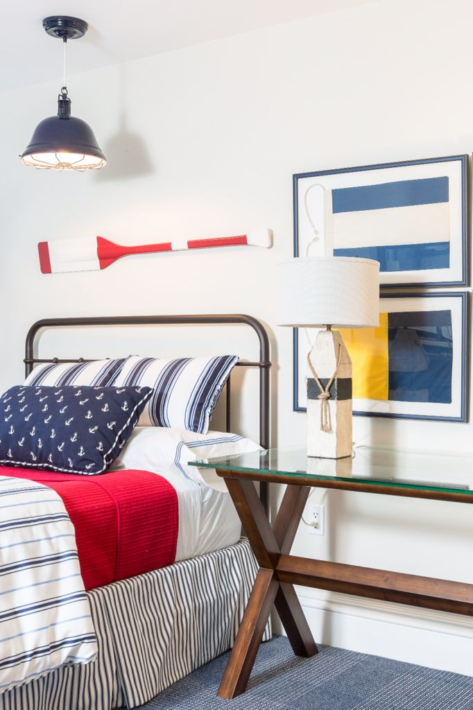 Boy's Nautically Inspired Bedroom by Reed & Acanthus Interior Design: red,  white and blue