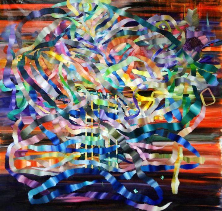 Buy Mémento, la concordance des temps, a Oil on Canvas by Irene de buffieres from France. It portrays: Music, relevant to: present, rubber, time, vibrations, janus, colors, musique, harp, nœuds borroméens, love, memory, music Mars 2015 The harp/la harpe Nœuds et dénouements borroméens  Painting oil on linen canvas 160X160 cm