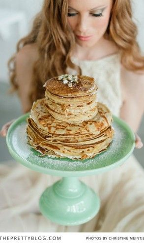Pancake-cake & mint green cake stand | Photography: Christine Meintjes, Cake: @Laura Jayson Mitchell , Cake Stand: @Julie Forrest Laidlaw In Good Company