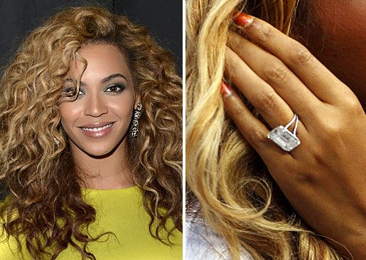 Jay-Z proposed to Beyonce in 2008 with an 18-carat flawless diamond by Lorraine Schwartz, worth more than $5 million. The emerald cut centre stone is set in platinum.Read about Beyonce and Jay-Z's wedding.