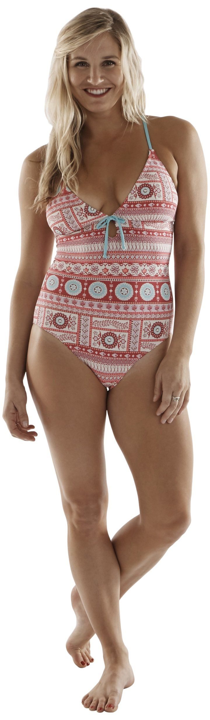 Carve Designs Women's Nosara Full Piece, Large, Parisio. One-piece swimsuit with triangle cups featuring cutout with bow. Crisscross back straps with tie.