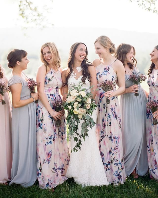 lavender and dusty rose from this beautiful #realwedding -- link in profile | photo @audrawrisleyphoto event coordination @mycraftedevents floral design @kateandlilyflowers venue @springfield_manor wedding dress @pronovias hair @dc_looks makeup #GypsysolMakeupArtistry bridesmaid dresses @kayungernewyork @joannaaugust groom's suit @rajafashions film lab @richardphotolab #ruffledblog