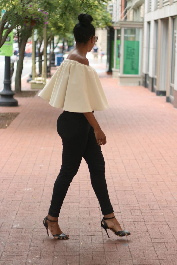 DIY off the shoulder circle top and high waist cigarette pants