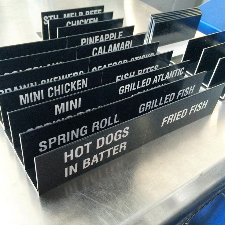 Laser etched anodised aluminium food signs. #laseretch #laseretched #lasersign #foodsign