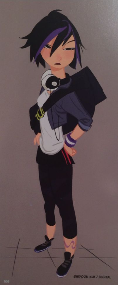 Gogo Tomago concept art by Shiyoon Kim, Jin Kim, Lorelay Bove, and Kevin Nelson (Art of Big Hero 6)
