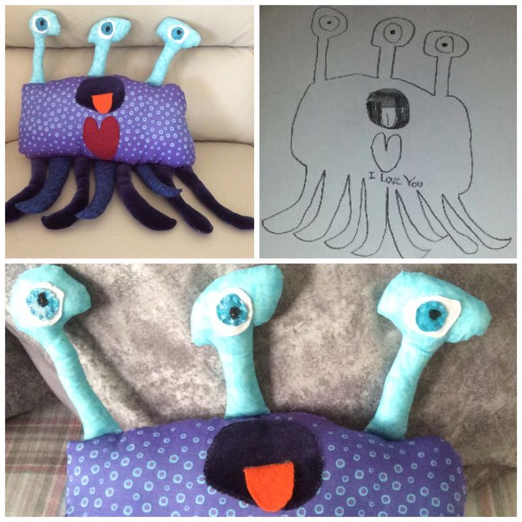 The eyes have it- personalised soft toy made from child's own drawing.
