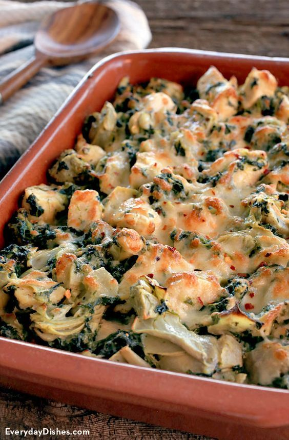 Time to show your neighbors who's boss at the potluck? So we're a little competitive—don't judge. Whip up our baked chicken with spinach and artichoke recipe. The chicken is juicy and tender just the way you like and the veggies are out of this world! And the cheese—people the cheese!
