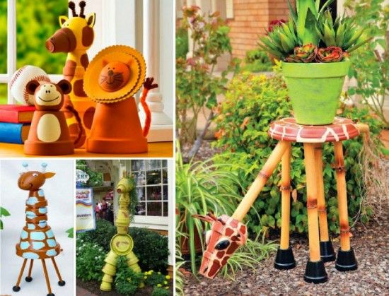 Best Clay Pot People And Animals Images On Pinterest Clay - Sporting clay window decalsgiraffe garden statue giraffe clay pot clay pot animal