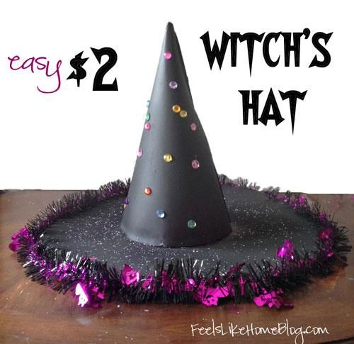 DIY Witch Costumes : How to Make an Easy $2 Witch's Hat
