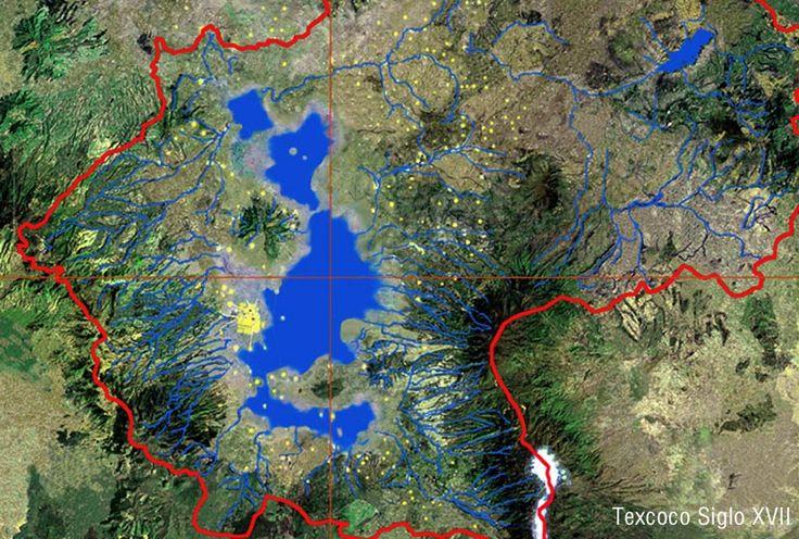 Resultado de imagen para mapa lago de texcoco sobre mapa actual df