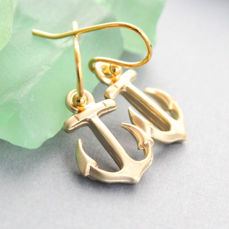 Gold #Anchor Earrings #nautical #jewelry