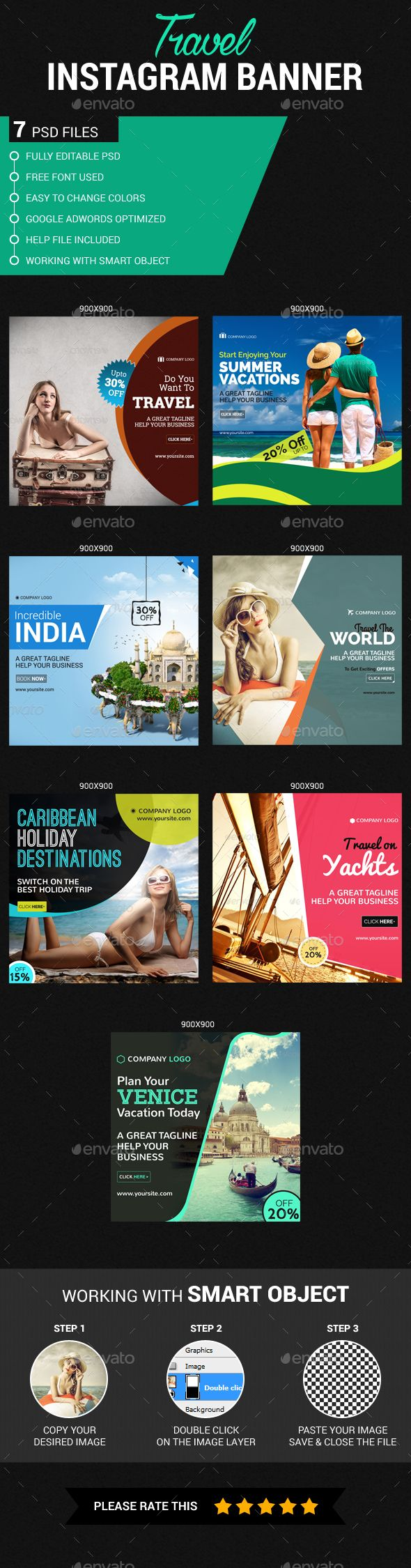 Travel Instagram Banner Template PSD #ads #promote Download: http://graphicriver.net/item/travel-instagram-banner/14410452?ref=ksioks