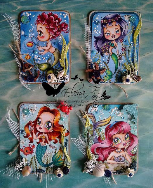 Mermaids Copic coloring Alicia Bel ATC serie