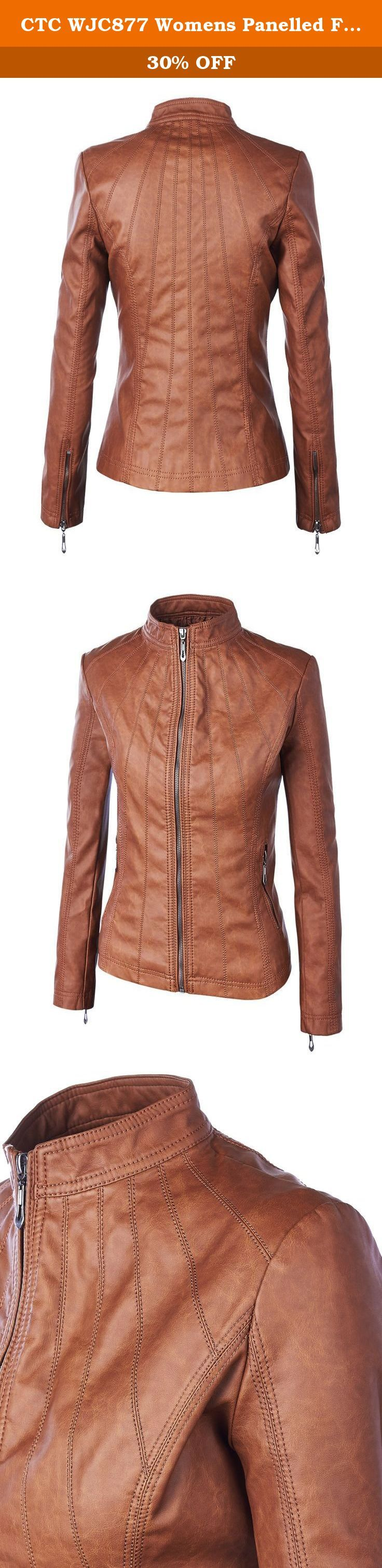CTC WJC877 Womens Panelled Faux Leather Moto Jacket L CAMEL. Womens Faux Leather Zip Up Moto Biker Jacket with Stitching Detail.