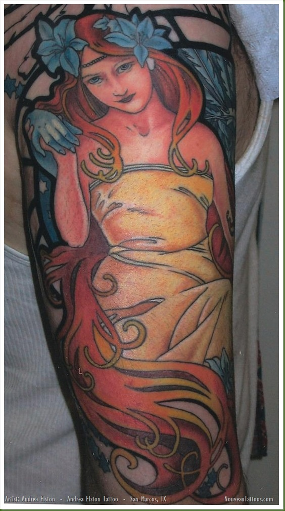 Andrea Elston (Tattoo Artist) :: Art Nouveau Inspired Female Tattoo.    Fr. nouveautattoos.com