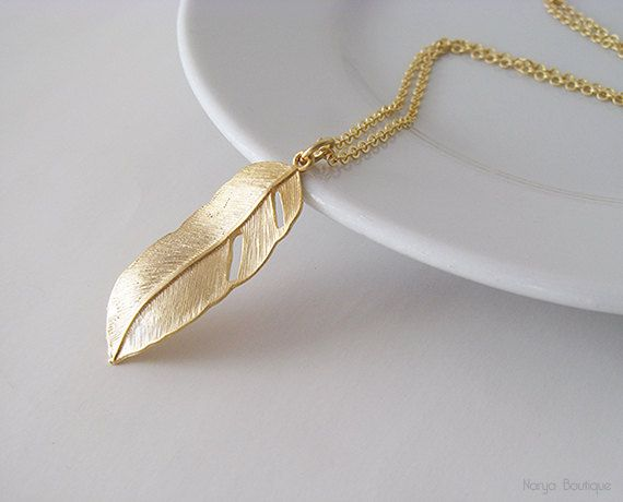 Long Gold Feather Necklace  Matte Gold Plated