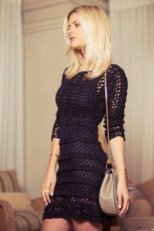 Vestido-Trico-Renda-Preto | Galeria Tricot - Galeria Tricot                                                                                                                                                                                 Mais