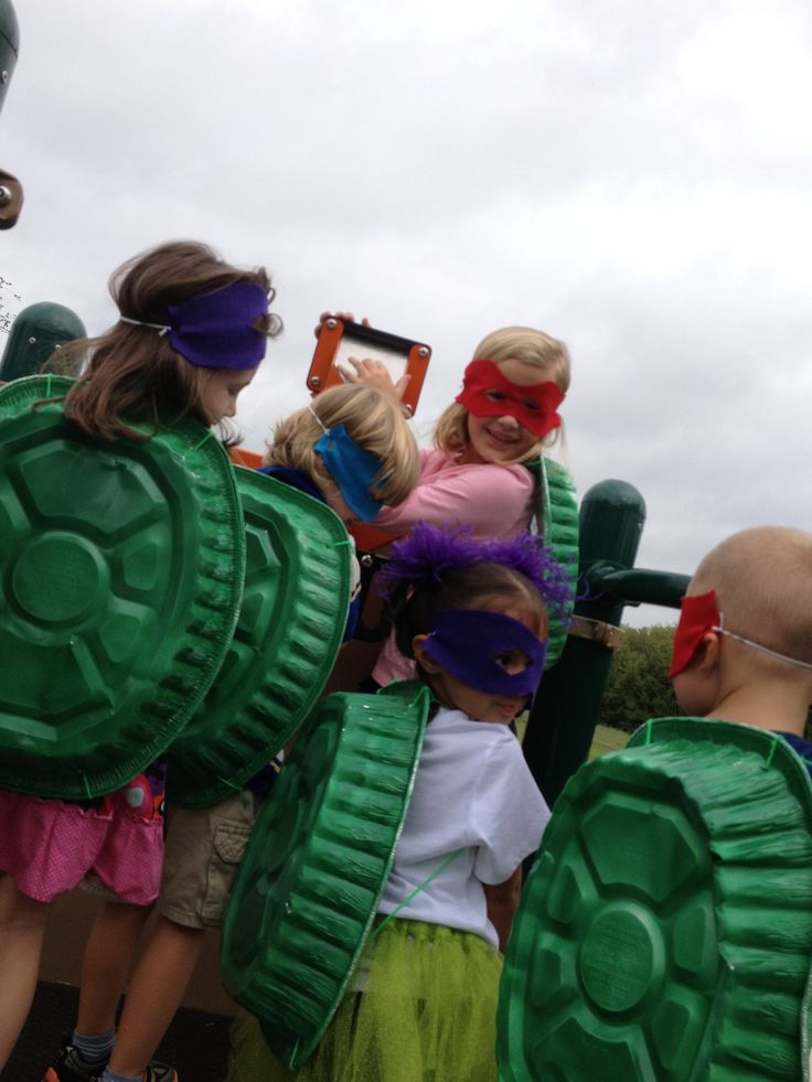 Ninja turtle shells out of dollar store Roasting pans and felt masks.