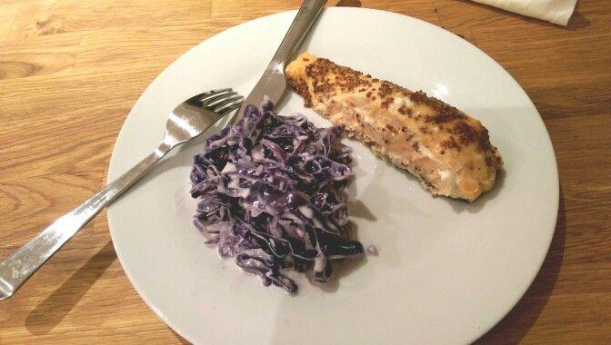 Gorgonzola cabbage & maple syrup-whole grain mustard salmon