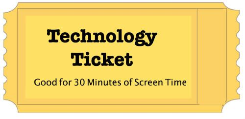 """I love this idea!! - One family gave six """"TV Tickets"""" at the beginning of the week. They made one ticket to equal an hour of screen time. On the back of each ticket is a list of things the kids needed to do before they could turn a ticket in, like cleaning their room, finishing homework, and doing other chores. Instead of using technology all the time, they like to read, play games with each other, and play outside with friends."""